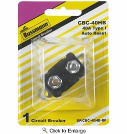 Bussmann BP/CBC-40HB-RP  Type I Stud-Mount 40 Amp Automatic Circuit Breaker with Lengthwise Bracket