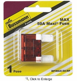 Bussmann BP/MAX-50-RP  Red Maxi (MAX) 50 Amp Fast-Acting Automotive Heavy Duty Blade Fuse