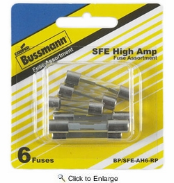 Bussmann BP/SFE-AH6-RP  SFE Fast-Acting Glass Tube Fuse 6 Fuse High Amp Assortment (14 to 30 Amp)