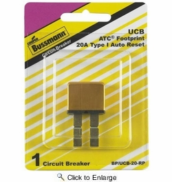 Bussmann BP/UCB-20-RP  Type I ATC Footprint 20 Amp Automatic Circuit Breaker with Snap-Off Blades
