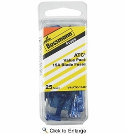 Bussmann VP/ATC-15-RP  Blue ATC 15 Amp Fast-Acting Automotive Blade Fuses - 25 per Box