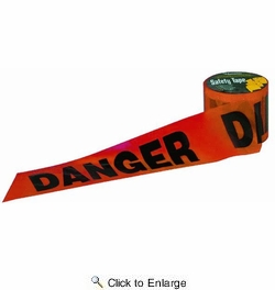"C.H. Hanson 16103  300' x 3"" Red 'DANGER' Barricade Safety Tape - Black Letters on Standard 2 mil Red Tape"