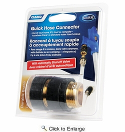 Camco 20135  Quick Hose Connector-- Brass-Replaces 20133