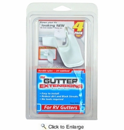 Camco 42123  Gutter Extensions, White, Set Of 4 (2 Left-2 Right)