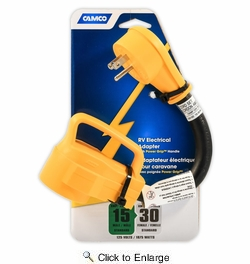 """Camco 55163  Power Grip Dogbone 12"""" Electric Adapter, 15 AMP M to 30 AMP F"""