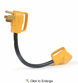"""Camco 55173  Power Grip Dogbone 18"""" Electric Adapter, 50 AMP M to 30 AMP F,  With Handle"""