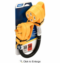 """Camco 55183  Power Grip Dogbone 18"""" Electric Adapter, 30 AMP M to 50 AMP F,  With Handle"""