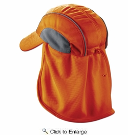 Chill-Its 6650  High Performance Hat with Neck Shade - Hi-Vis Orange Design (12521)