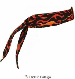 Chill-Its 6700  Evaporative Cooling Bandana - Tie Style - Flames Design (12341)