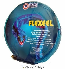"""Coilhose Pneumatics PFE60504T  3/8"""" x 50' Flexeel Polyurethane Reinforced Straight Air Hose with Strain Relief Fittings - Transparent Blue"""