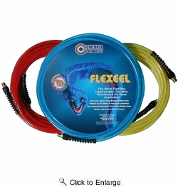 "Coilhose Pneumatics PFE61004T  3/8"" x 100' Flexeel Polyurethane Reinforced Straight Air Hose with Strain Relief Fittings - Transparent Blue"