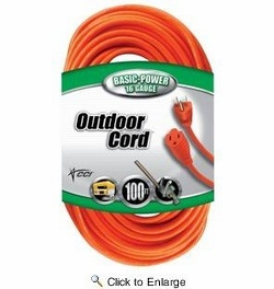 Coleman Cable 02309  100' Vinyl Jacketed 16/3 SJTW Outdoor Extension Cord - Orange