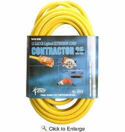 Coleman Cable 02587  25' Vinyl Jacketed 12/3 SJTW Outdoor Extension Cord with Lighted End - Yellow