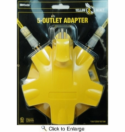 Coleman Cable 827362  5 Outlet Adapter with Cord Locks - Yellow