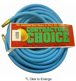 "Contractor's Choice PVC38100  3/8"" x 100' Flexible PVC 300 psi Air Hose with 1/4"" NPT Ends - Blue"
