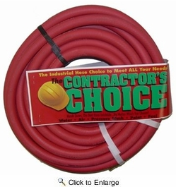 "Contractor's Choice RED38100  Red 3/8"" x 100' Rubber 300 psi Air Hose with 1/4"" NPT Ends"