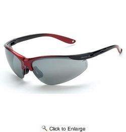 Crossfire 1733  Brigade Safety Glasses Silver Mirror Lens - Shiny Black/Red Frame