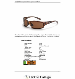 Crossfire 21126  Infinity Safety Glasses HD Brown Polarized Lens - Crystal Brown Frame