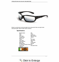 Crossfire 263  Infinity Safety Glasses Silver Mirror Lens - Shiny Black Frame