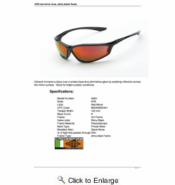 Crossfire 3469  KP6 Safety Glasses Red Mirror Lens - Shiny Black Frame