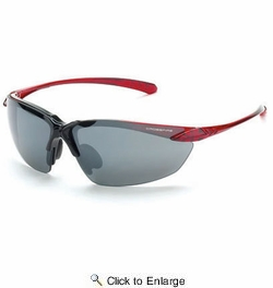 Crossfire 9233  Sniper Safety Glasses Silver Mirror Lens - Shiny Black - Crystal Burgundy Red Frame