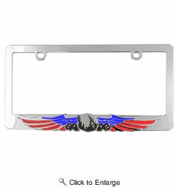 Custom Accessories 92861  Chrome Decorated License Plate Frame (Patriot Eagle)