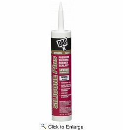 Dap 08770  Silicone Plus Premium Silicone Rubber Kitchen & Bath Sealant - White 10.1-oz Cartridge