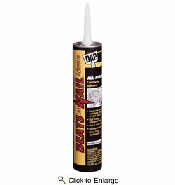 Dap 25082  'Beats the Nail' All-Purpose Construction Adhesive - Gray 10.3-oz Cartridge (25098)