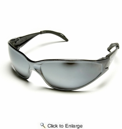 Edge Eyewear AB117  Kirova Safety Glasses Black Frames Silver Mirror Lens