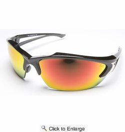 Edge Eyewear SDKAP119  Khor Safety Glasses Black Frames Aqua Precision Red Mirror Lens