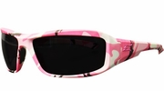 Edge Eyewear  XB116-H1  Brazeau Huntress Safety Glasses Pink Camo Frame Non-Polarized Smoke Lens