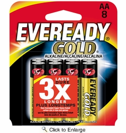 Eveready Gold A91BP-8  AA Alkaline Battery  8 per Package