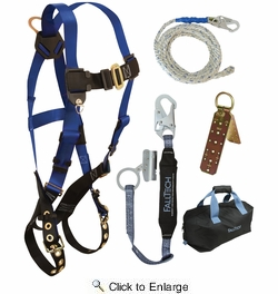 FallTech 8595RA  Contractors Fall Arrest Harness Roofer's Kit - Universal Fit with Carry Bag