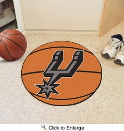 "Fan Mats 10196  NBA - San Antonio Spurs 27"" Diameter Basketball Shaped Area Rug"