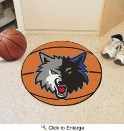 "Fan Mats 10205  NBA - Minnesota Timberwolves 27"" Diameter Basketball Shaped Area Rug"