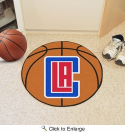 "Fan Mats 10210  NBA - Los Angeles Clippers 27"" Diameter Basketball Shaped Area Rug"