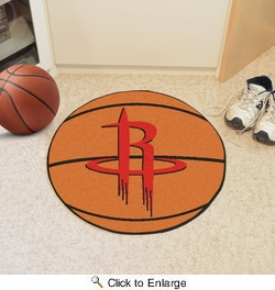 "Fan Mats 10212  NBA - Houston Rockets 27"" Diameter Basketball Shaped Area Rug"