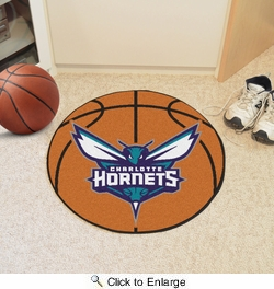 "Fan Mats 10219  NBA - Charlotte Hornets 27"" Diameter Basketball Shaped Area Rug"