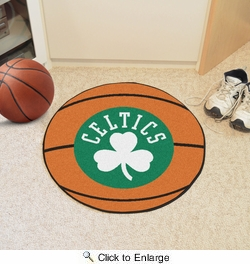 "Fan Mats 10220  NBA - Boston Celtics 27"" Diameter Basketball Shaped Area Rug"
