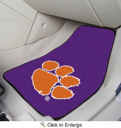 "Fan Mats 10233  Clemson University Tigers 17"" x 27"" 2-pc Carpet Car Mat Set"