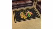 Fan Mats 10375  NHL - Chicago Blackhawks 4' x 6' Area Rug
