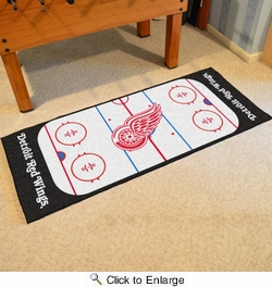 "Fan Mats 10382  NHL - Detroit Red Wings 30"" x 72"" Rink-Shaped Runner Rug"