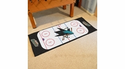 "Fan Mats 10675  NHL - San Jose Sharks 30"" x 72"" Rink-Shaped Runner Rug"