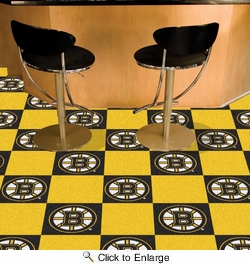"Fan Mats 10694  NHL - Boston Bruins 18"" x 18"" Team Carpet Tiles (10 Logo, 10 Solid per Box - appx 45 sq ft)"