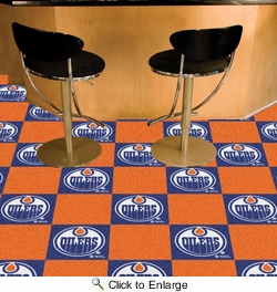 "Fan Mats 10705  NHL - Edmonton Oilers 18"" x 18"" Team Carpet Tiles (10 Logo, 10 Solid per Box - appx 45 sq ft)"