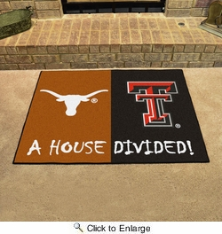 "Fan Mats 11097  Texas Longhorns vs Texas Tech Red Raiders 33.75"" x 42.5"" House Divided Area Rug / Mat"
