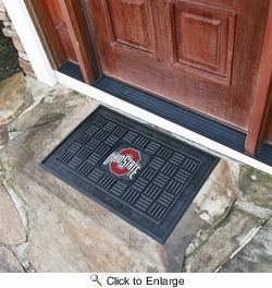 "Fan Mats 11395  OSU - Ohio State University Buckeyes 19.5"" x 31.25"" Medallion Vinyl Door Mat"