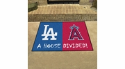 "Fan Mats 12250  MLB - Los Angeles Dodgers vs Los Angeles Angels 33.75"" x 42.5"" House Divided Area Rug / Mat"