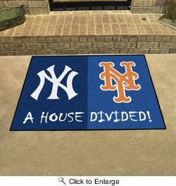 "Fan Mats 12253  MLB - New York Yankees vs New York Mets 33.75"" x 42.5"" House Divided Area Rug / Mat"