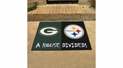 """Fan Mats 12468  NFL - Green Bay Packers vs Pittsburgh Steelers 33.75"""" x 42.5"""" House Divided Area Rug / Mat"""